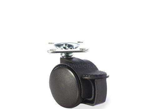 PP wiel 40mm plaat 30x30mm met rem