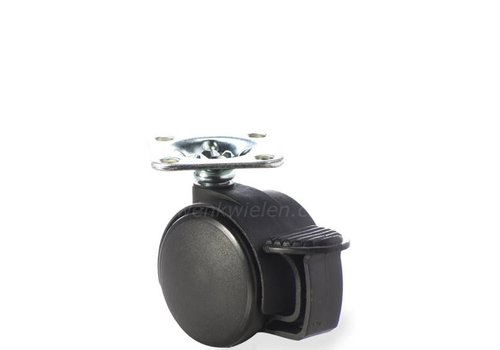 PP wiel 40mm plaat 38x38mm met rem