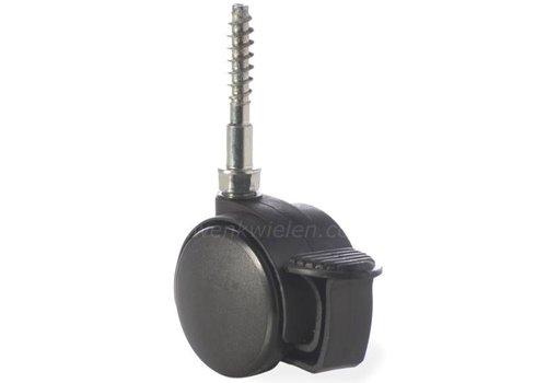 PP wiel 40mm schroef 7x42mm met rem