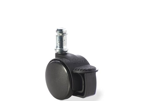 PP wiel 40mm stift 8mm met rem