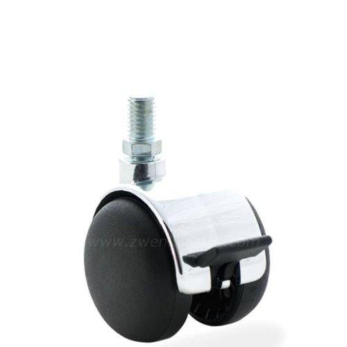 PP chrome wiel 50mm bout M10x15 met rem