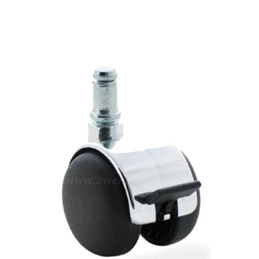 PP chrome wiel 50mm stift 8mm met rem