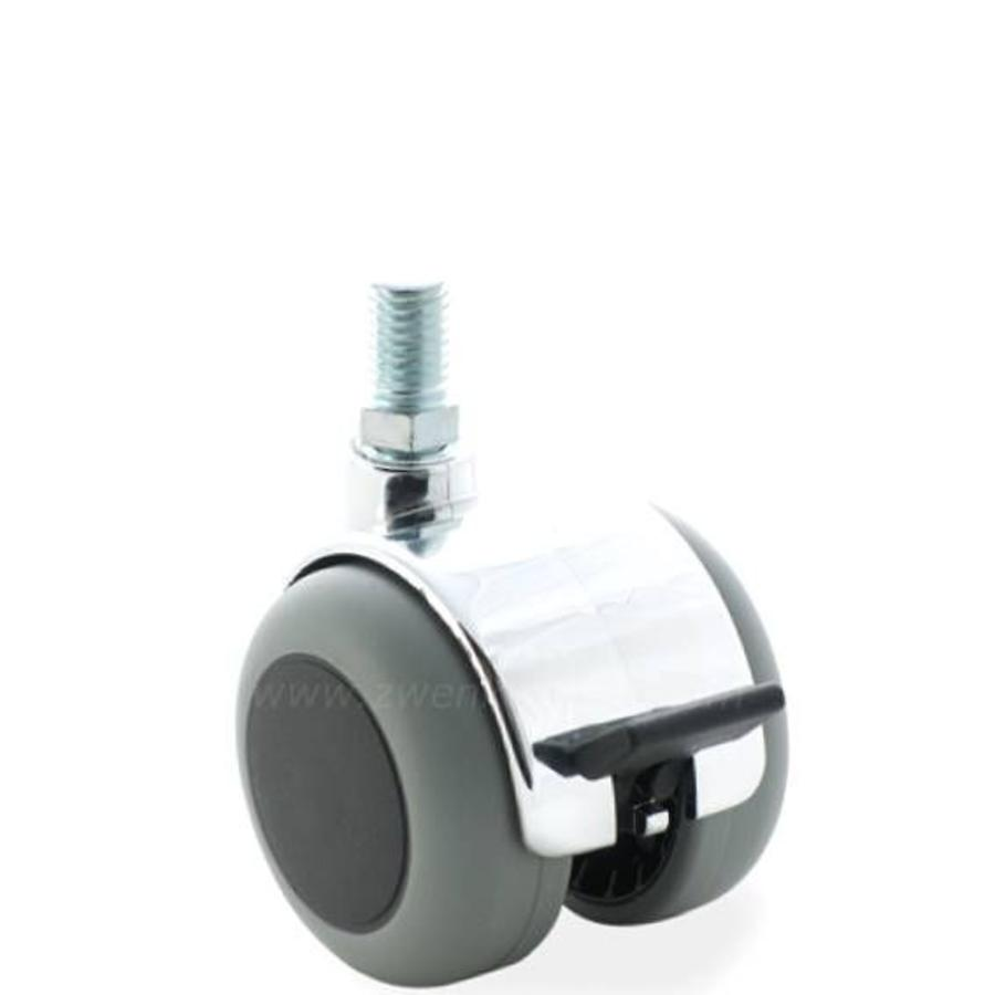 PPTP chrome wiel 50mm bout M10x25 met rem