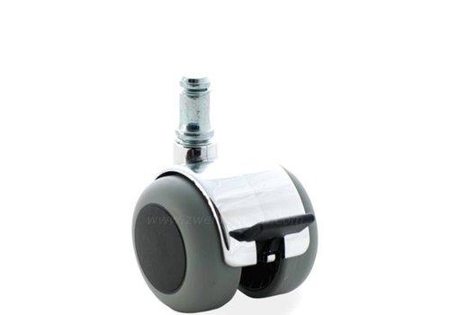 PPTP chrome wiel 50mm stift 8mm met rem