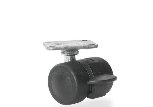 PALOW wiel 35mm plaat 38x38mm met rem
