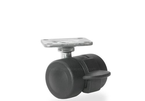 PALOW wiel 35mm plaat 42x42mm met rem