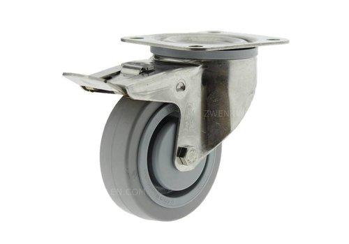 Zwenkwiel RVS 100 E rubber KO plaat met rem