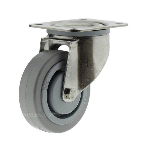 Zwenkwiel RVS 125 E rubber KO plaat