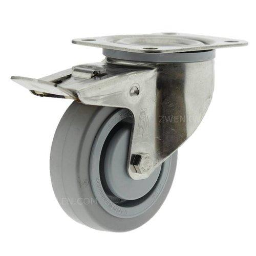 Zwenkwiel RVS 125 E rubber KO plaat met rem