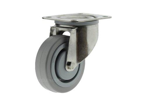 Zwenkwiel RVS 160 E rubber KO plaat