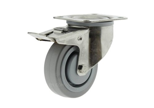 Zwenkwiel RVS 200 E rubber KO plaat met rem