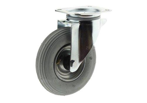 Zwenkwiel luchtband grijs 200mm plaatbevestiging