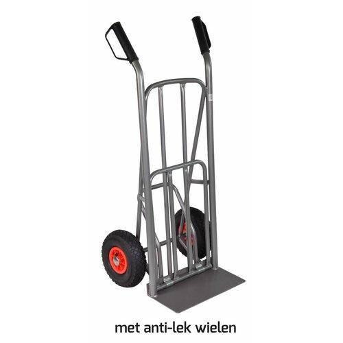 Steekwagen 250kg uitklap plateau voetpedaal antilek wielen