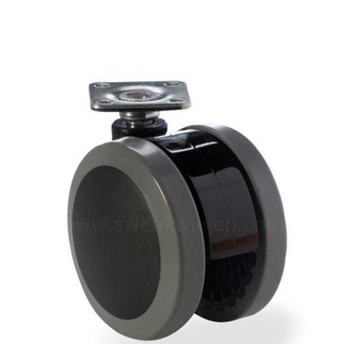 PAPU black wiel 75mm plaat 42x42mm