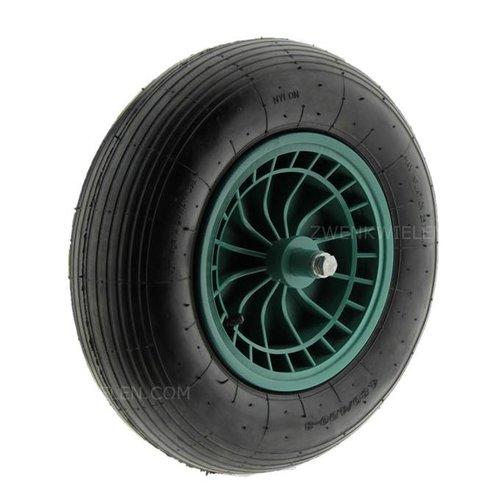 Kruiwagenwiel luchtband met as 125mm