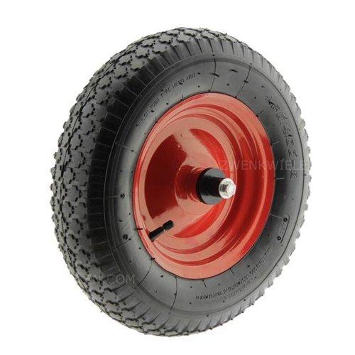 Kruiwagenwiel luchtband metaal met as 125mm (meest gekozen)