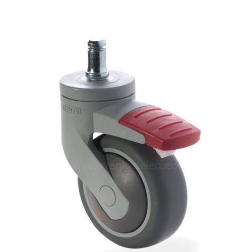 SYTP afdekkap wiel 75mm stift 10mm met rem