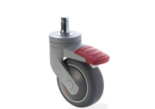 SYTP afdekkap wiel 75mm stift 9mm met rem