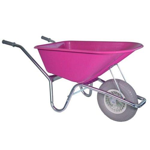 Kruiwagen 100 liter rose anti-lek wiel