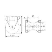 Bokwiel nylon 250 5SO plaat