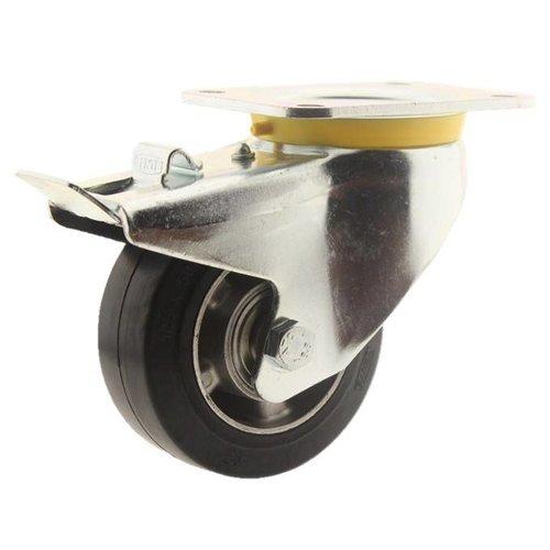 Zwenkwiel rubber 125 5SO plaat met rem