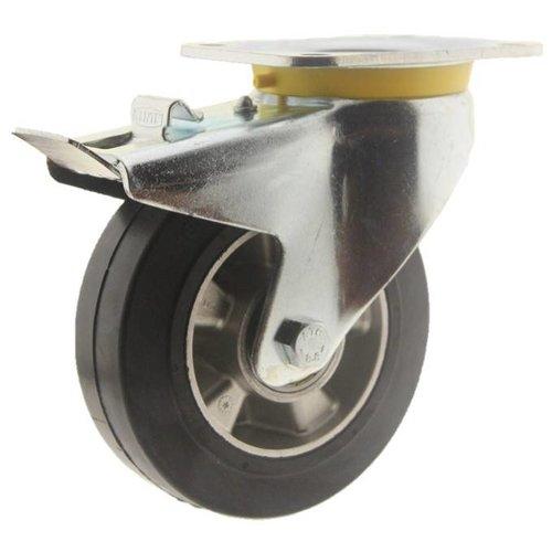 Zwenkwiel rubber 160 5SO plaat met rem
