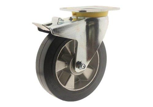 Zwenkwiel rubber 200 5SO plaat met rem