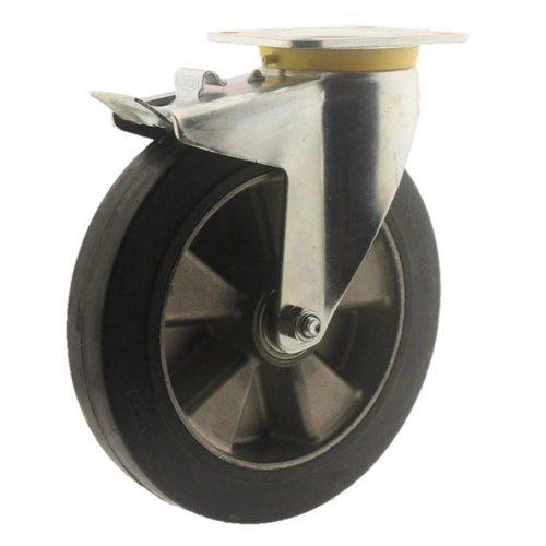 Zwenkwiel rubber 250 5SO plaat met rem
