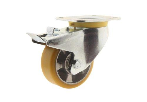 Zwenkwiel polyurethaan 125 5SO plaat met rem