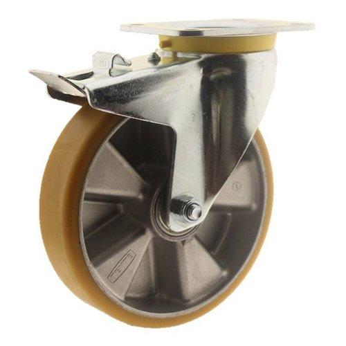Zwenkwiel polyurethaan 200 5SO plaat met rem