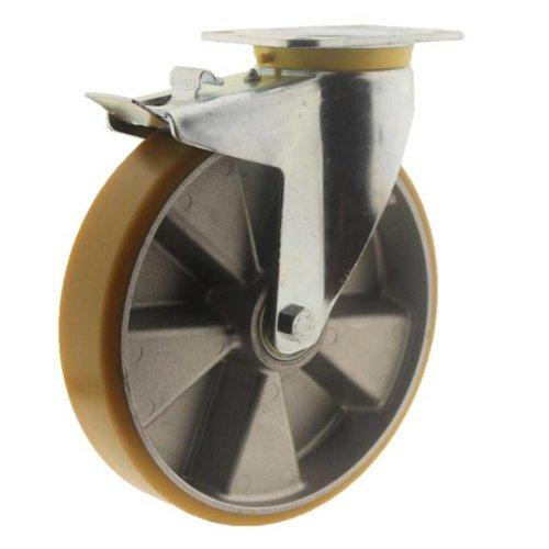Zwenkwiel polyurethaan 250 5SO plaat met rem