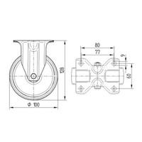 Bokwiel nylon 3NO 100mm plaat