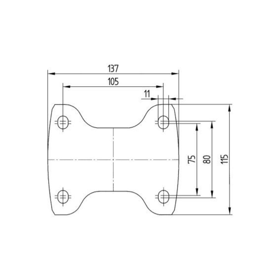 Bokwiel nylon 3NO 200mm plaat