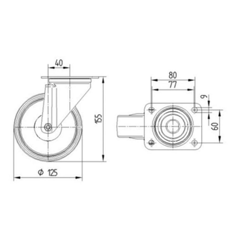 Zwenkwiel nylon 3NO 125mm plaat