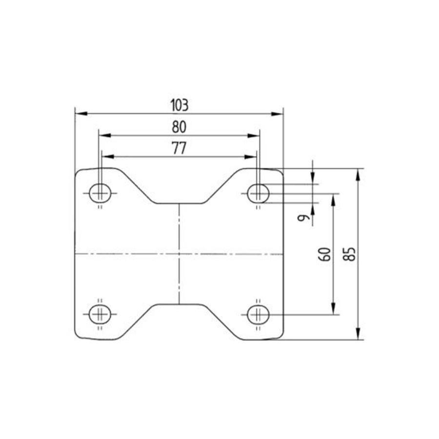 Bokwiel nylon 3NOP 80mm plaatbevestiging
