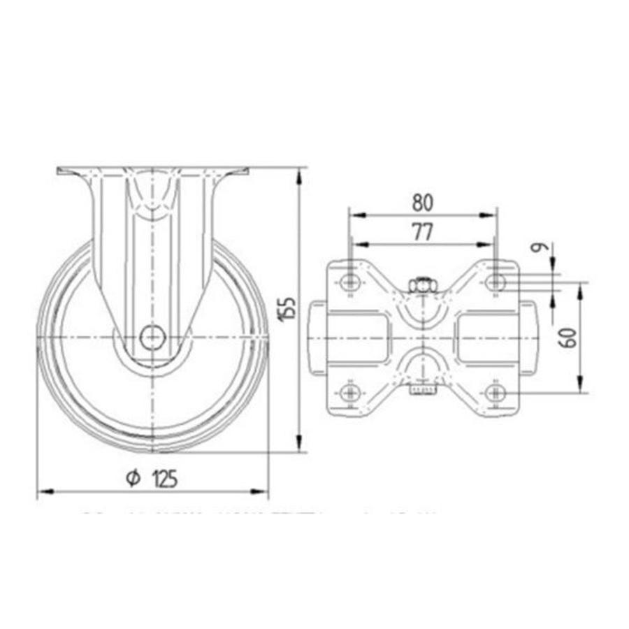 Bokwiel nylon NOC 125mm plaatbevestiging