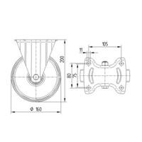 Bokwiel nylon 3NOP 160mm plaatbevestiging