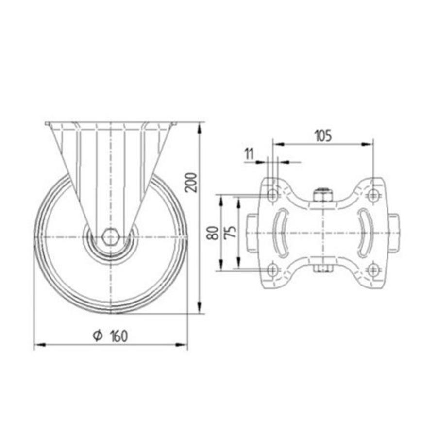Bokwiel nylon NOC 160mm plaatbevestiging