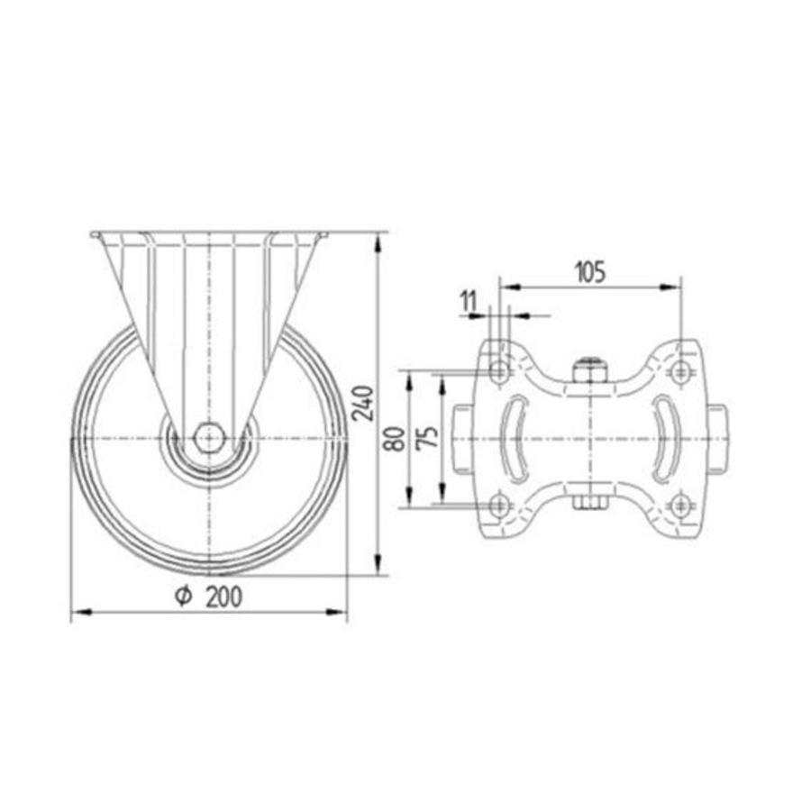 Bokwiel nylon NOC 200mm plaatbevestiging