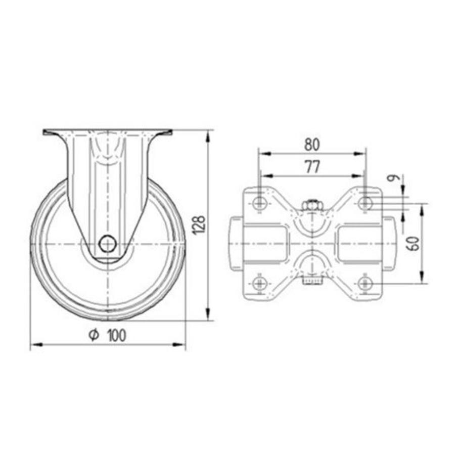 Bokwiel elastisch rubber 100 3KO plaat
