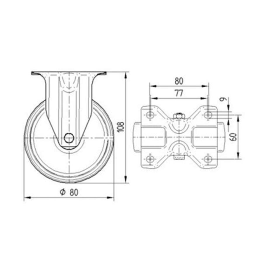 Bokwiel rubber 80 3KO plaat