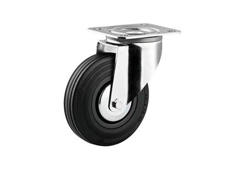 Zwenkwiel rubber 100 3KA plaat