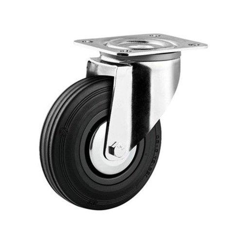 Zwenkwiel rubber 125 3KA plaat