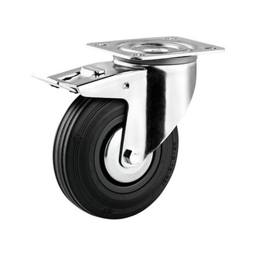 Zwenkwiel rubber 80 3KA plaat met rem