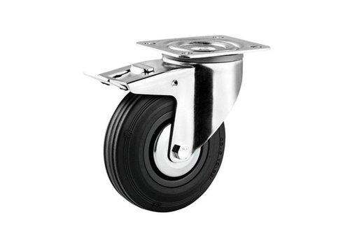 Zwenkwiel rubber 125 3KA plaat met rem