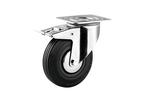 Zwenkwiel rubber 160 3KA plaat met rem