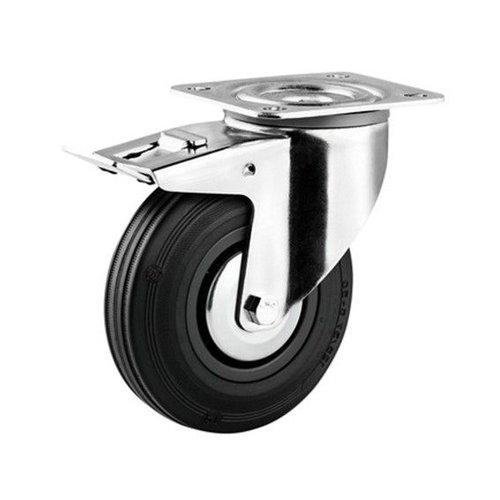 Zwenkwiel rubber 200 3KA plaat met rem