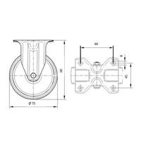Bokwiel rubber 75 1SA plaat