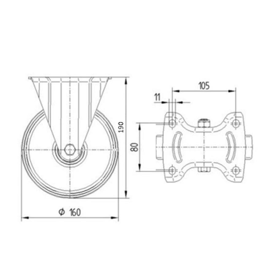 Bokwiel rubber 160 1SA plaat