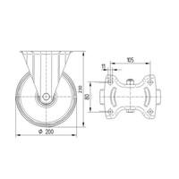 Bokwiel rubber 200 1SA plaat